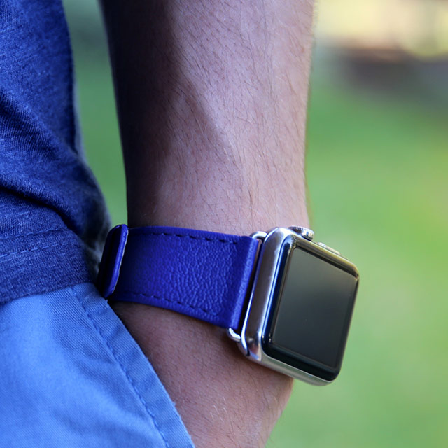 Luxury Apple Watch Band Series 6 / SE - (40 mm) - Royal Blue - Granulated Leather