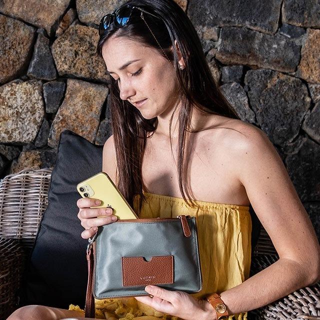 Nylon-Leather Zippered Clutch Bag